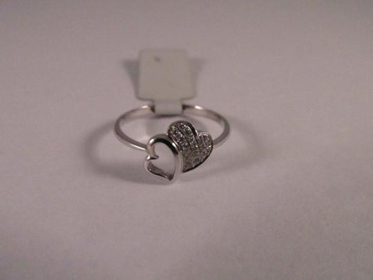 Other 18K White Gold Double Hearts Diamond Ring