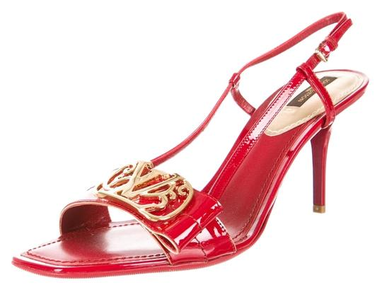Louis Vuitton Patent Patent Leather Lv Logo Monogram Gold Gold Hardware Embellished Peep Toe Strappy Stiletto Slingback 39.5 9.5 New Red Sandals