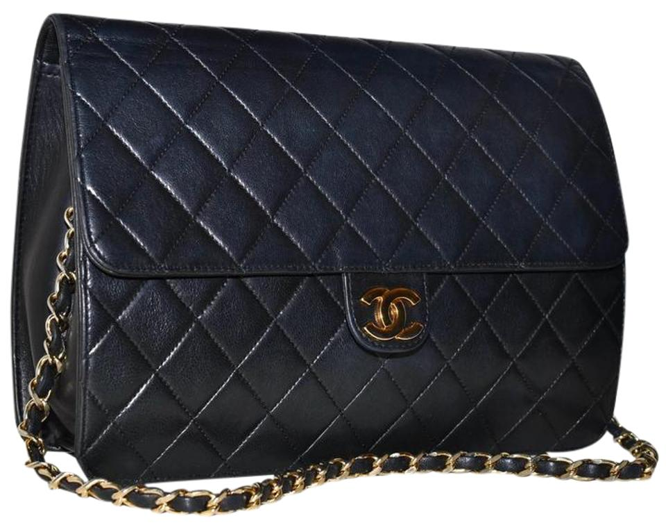 a1be6ad6ca9e Chanel Quilted Lambskin Handbag Gold Chain Made In France Black Leather  Shoulder Bag