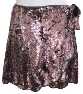 Jill Stuart Glitter Vintage Jill Sequin Beaded Wrap Mini Exclusive Limited Edition Textured Short Multi Drape Draped Contrast Party Mini Skirt Pink