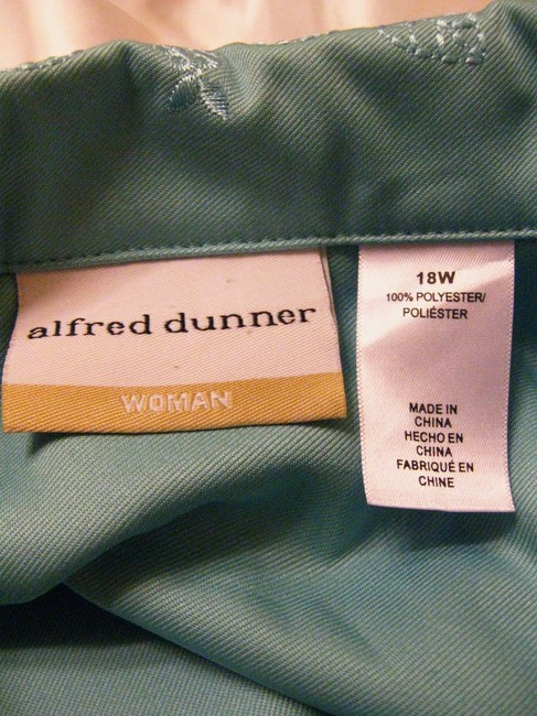 Alfred Dunner Long-sleeve Embroidered Trim Basic Aqua Jacket