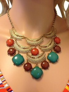 Gold Statement necklace with warm colors