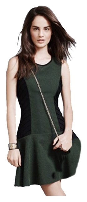 Item - Forrest Green and Black Gatsby Knee Length Work/Office Dress Size 4 (S)