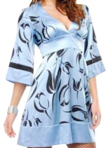 bebe Abstract Floral Silk Fitted Dress