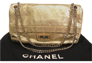 Chanel Chanel 2.55 Perforated Leather Gold On Gold Chain Hardware Flap
