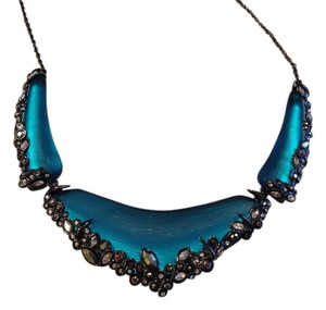 Alexis Bittar Alexis Bittar Turquoise Lucite Necklace with Crystal Accents