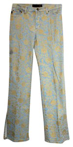Just Cavalli Printed Cotton Straight Pants LIGHT BLUE/YELLOW
