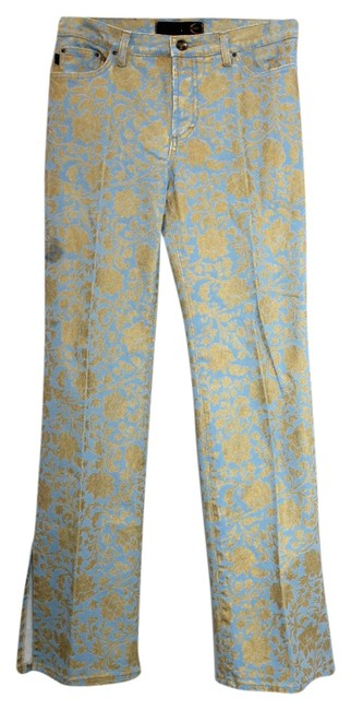 Just Cavalli Printed Straight Pants Blue & Gold