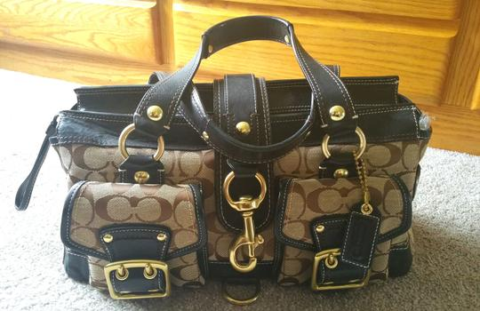 Coach Leather Satchel in Jacquard fabric with BLACK signature jacquard C's