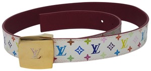 Louis Vuitton White multicolore L monogram leather Louis Vuitton Initials belt M