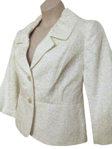 Isabella Suits Long-sleeve Rouched Summer Lightweight White Blazer
