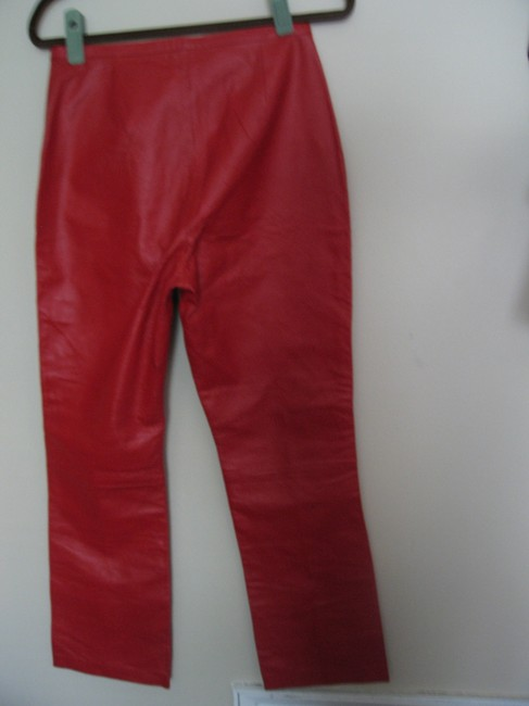 Newport News Leather Zipper Straight Pants Red