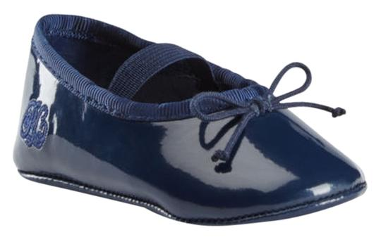 Ralph Lauren Layette - Rounded Toe Slip On Styling Elasticized Strap At Top For Secure Fit Embroided Faux Rl Embossed At Outer Side Man Navy Patent Leather Flats