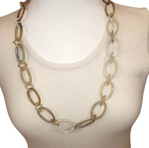MooMoo Designs Oval & Diamond Shaped Natural Horn Necklace