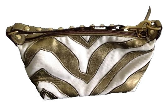 Coach Metallic Green/Gold and Creamy White Clutch