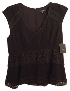 Nanette Lepore Silk Evening Shell Sleeveless Lace Top Black