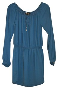 Single short dress Teal Peasant Keyhole Cinched Waist Long Sleeve on Tradesy