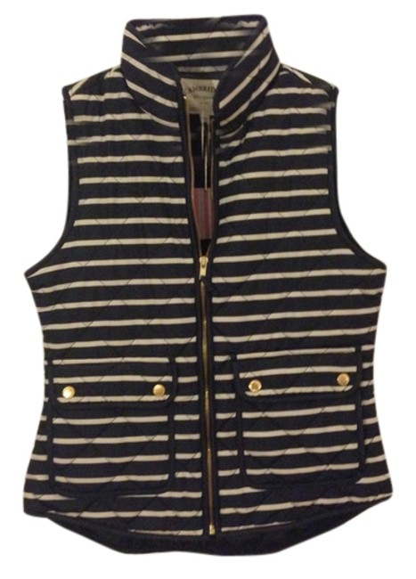 Item - Navy/Cream Striped Quilted Vest Size 4 (S)