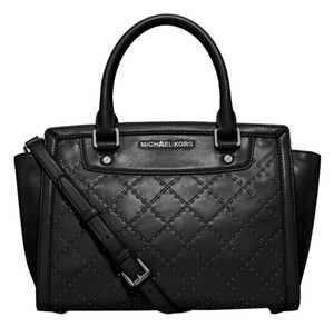 Michael Kors Selma Micro Stud Quilted Satchel in black