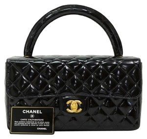 Chanel Patent Quilted Leather Satchel in Black