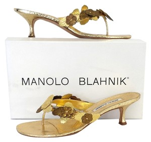 Manolo Blahnik Gold Metallic Leather Sandals