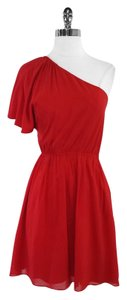Alice + Olivia short dress Red Silk One Shoulder on Tradesy