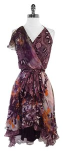 Haute Hippie short dress Purple Print Silk Halter on Tradesy