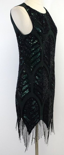 Haute Hippie Green Black Sequin Sleeveless Dress