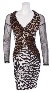 Roberto Cavalli Just Cavalli Animal Print Mesh Sexy Dress