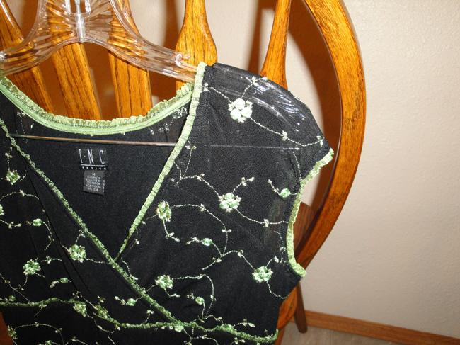 INC International Concepts Top Black and Avacado Green