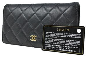 Chanel AUTHENTIC CHANEL QUILTED CC LOGO LONG WALLET PURSE BLACK LEATHER VINTAGE RK08082