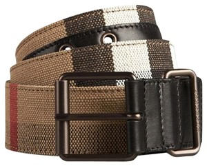 Burberry Burberry Brit Canvas Check Cory 40mm Roller Buckle Belt; Size 90