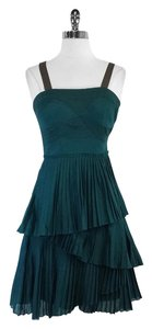 Vera Wang short dress Green Cotton Pleated on Tradesy