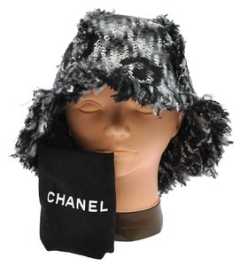 Chanel AUTHENTIC CHANEL CC LOGOS KNITTED HAT BLACK #57 MADE IN FRANCE VINTAGE RK06852