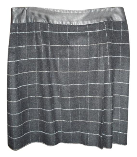 INC International Concepts Skirt Black with light gold stripes, leather waist