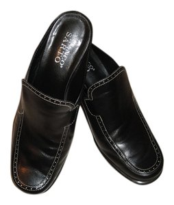 Franco Sarto Leather Black Mules