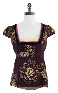 Nanette Lepore Maroon & Gold Floral Print Top