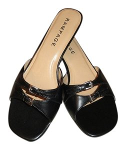 Rampage Black with gold buckles Sandals