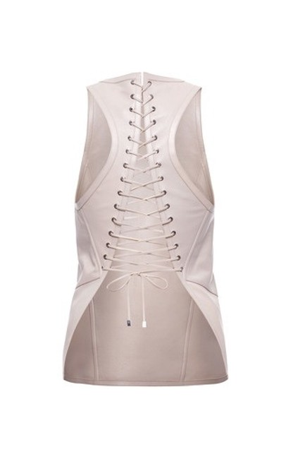 Salvatore Ferragamo Leather Corset Leather Genuine Leather Luxury Chic Top Light Grey