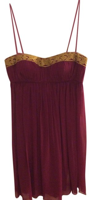 Item - Dark Pink Beaded Sweetheart Cocktail Mid-length Night Out Dress Size 2 (XS)