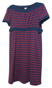 Ella Moss short dress Navy and Burgundy Striped on Tradesy