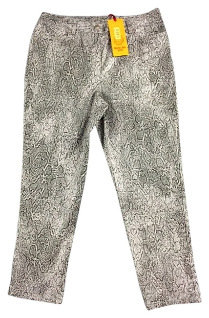 Ruby Rd. Ankle Cropped Snakeskin Foil Stretch Capris Silver Grey