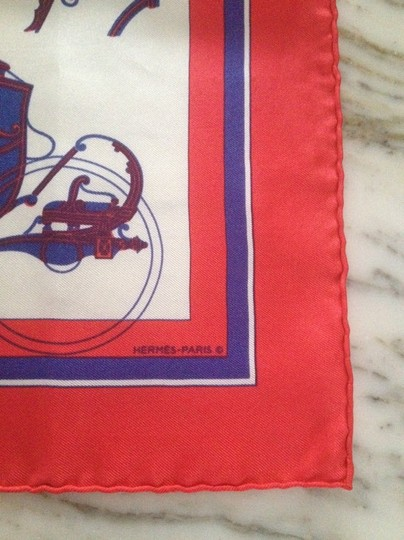 Hermès Hermes Red Horse and Carriage 'Ex Libris' Silk Scarf