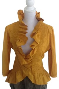 Vision Vintage Ruffled Top Burnt Gold