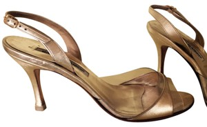 Manolo Blahnik Leather Slingback Open Toe Gold Formal