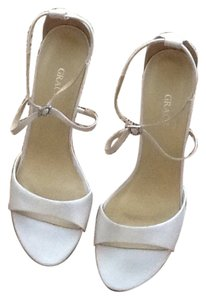Grace Footwear White Silk Platforms
