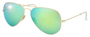 Ray-Ban New Ray Ban Aviator Sunglasses Gold Frame Green Mirror Lens 58mm