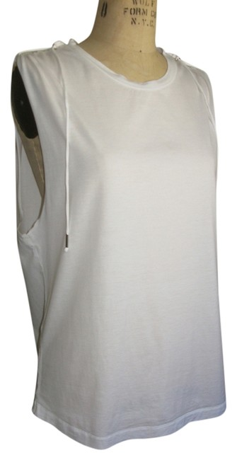 Isabel Marant Metal Details Raw Edge Muscle T Top WHITE