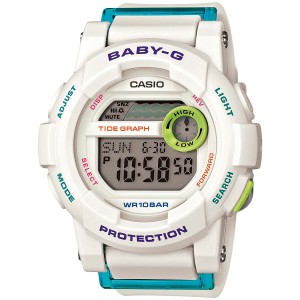 Baby-G Baby G BGD180FB-7CR Women's White Digital Watch With Grey Dial