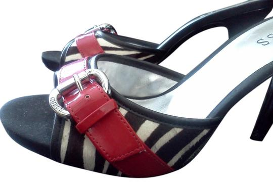 Guess Zebra print w/red patent leather buckle Mules
